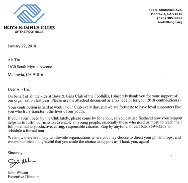 boys and girls club of the foothills donation letter